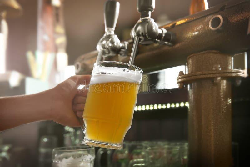 Barmanu dolewania piwo od klepnięcia w glas obraz stock
