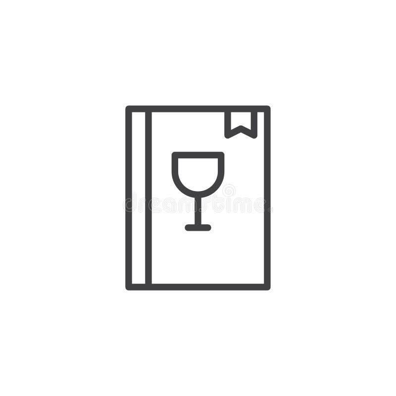 Barmanu menu książka z alkoholicznymi napojami wykłada ikonę royalty ilustracja