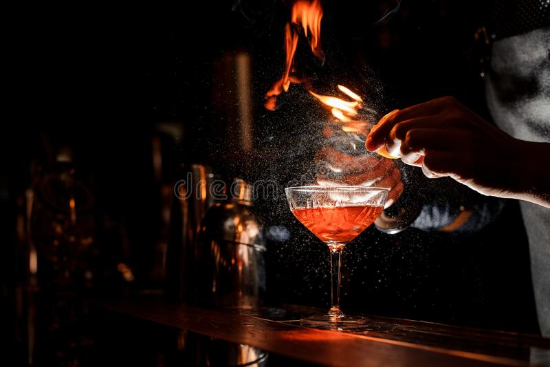 Barmany wręczają robić świeżemu koktajlowi z dymiącą notatką obraz stock