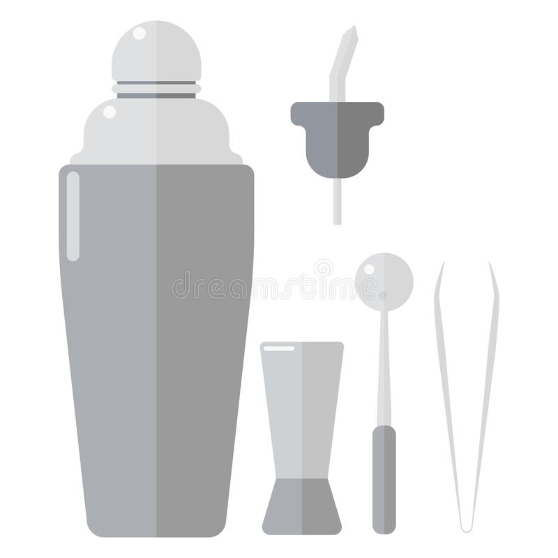 Barmen drinks shaker vector illustration. Classic cocktail barman drinks shaker vector illustration. Barmen alcohol cocktail party beverage. Aluminum royalty free illustration