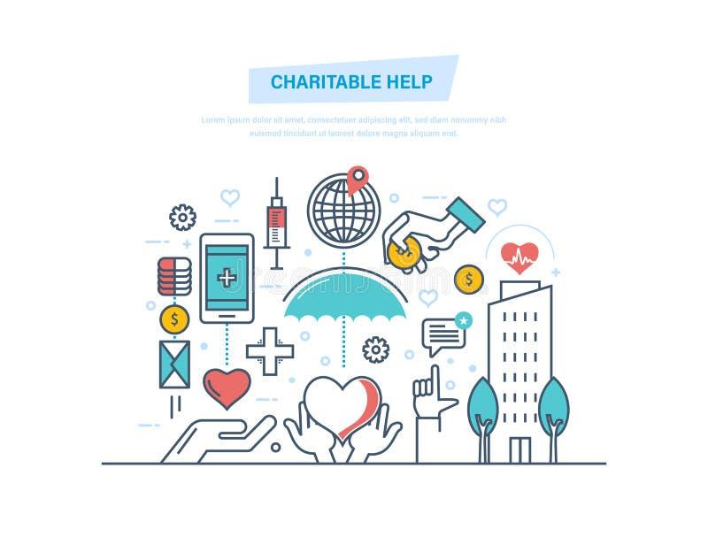 Barmherzige Hilfe Die mildtätigen Stiftungen, Mittel beschaffend, helfen Leuten und Spende lizenzfreie abbildung