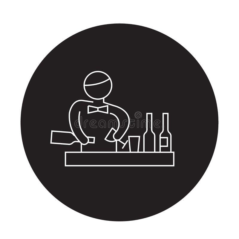 Barmixer, der Cocktailschwarzvektor-Konzeptikone macht Barmixer, der Cocktail flache Illustration, Zeichen macht vektor abbildung