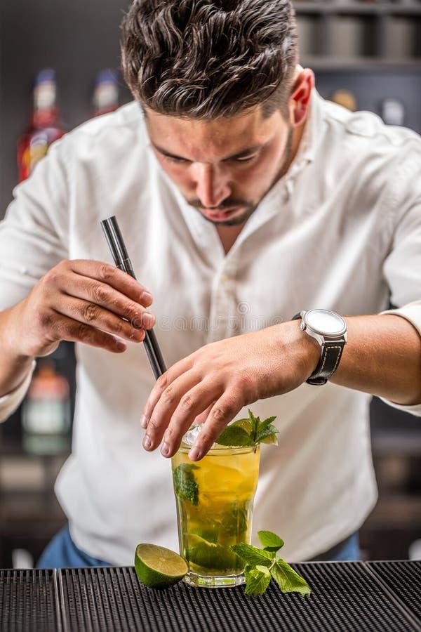 Barmixer, der mojito Cocktail vorbereitet stockfoto