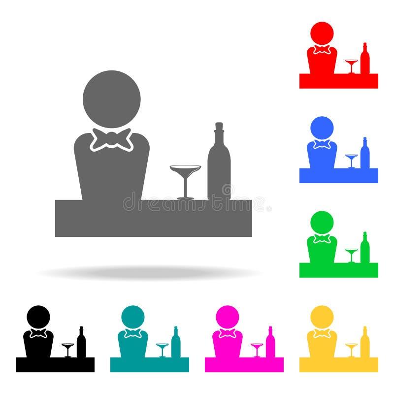 Barmixer an der Stangenikone Elemente der Stange in den multi farbigen Ikonen Erstklassige Qualitätsgrafikdesignikone Einfache Ik stock abbildung