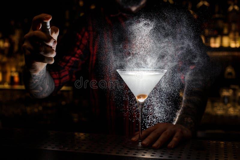 Barmixersprühen bitter auf dem Glas mit frischem Martini lizenzfreie stockbilder