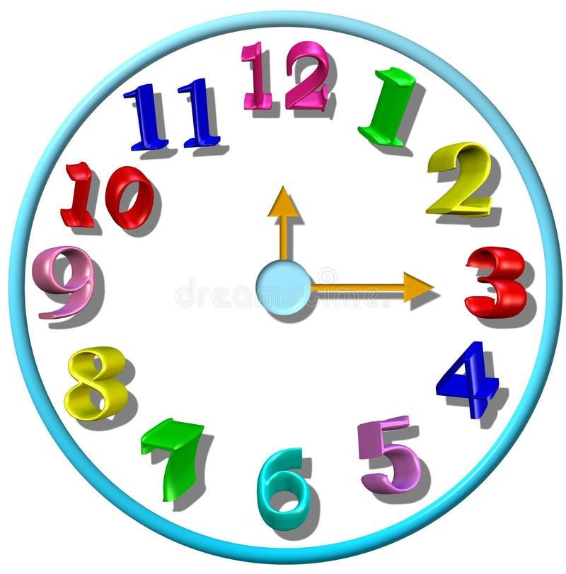 barn 3d clock s vektor illustrationer
