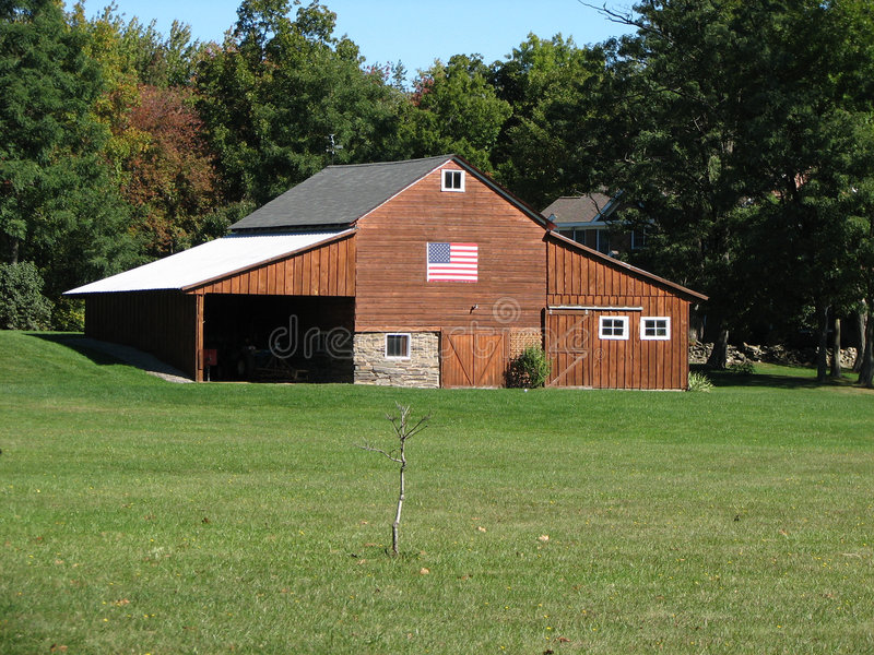 Barn With American Flag Stock Photos