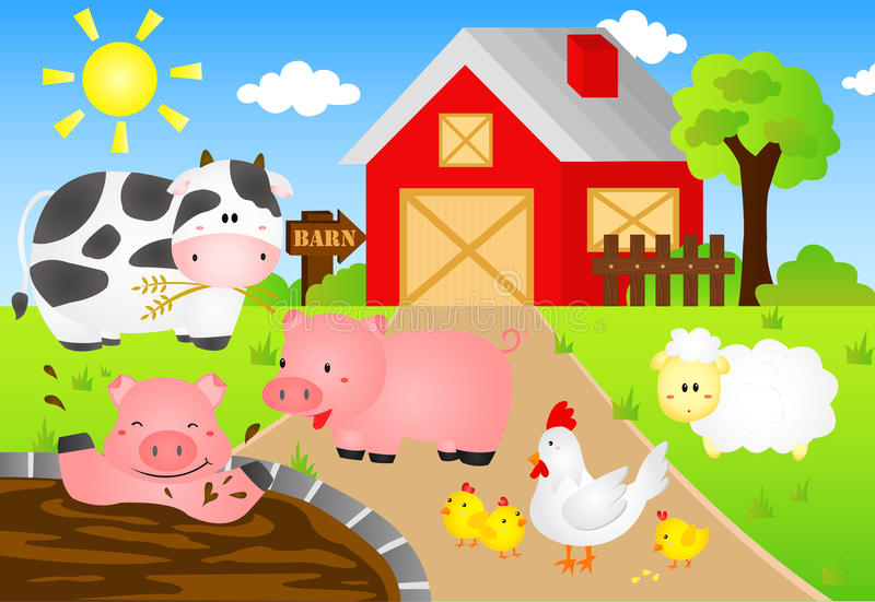 Download Barn Animals stock vector. Image of barn, fence, chick - 28411913