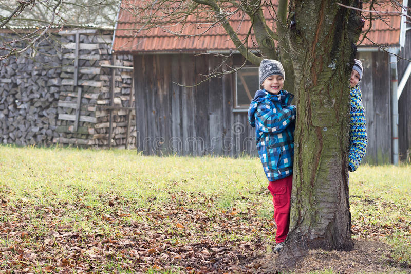 barn arbeta i trädgården att leka royaltyfri foto