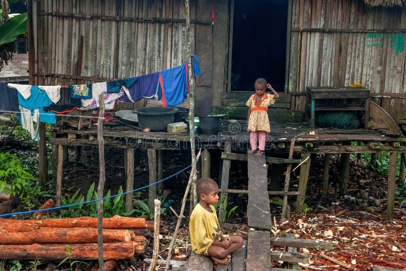 Barn av asmatstammen nära returnerar i liten döv by i djungel av den New Guinea ön arkivfoto