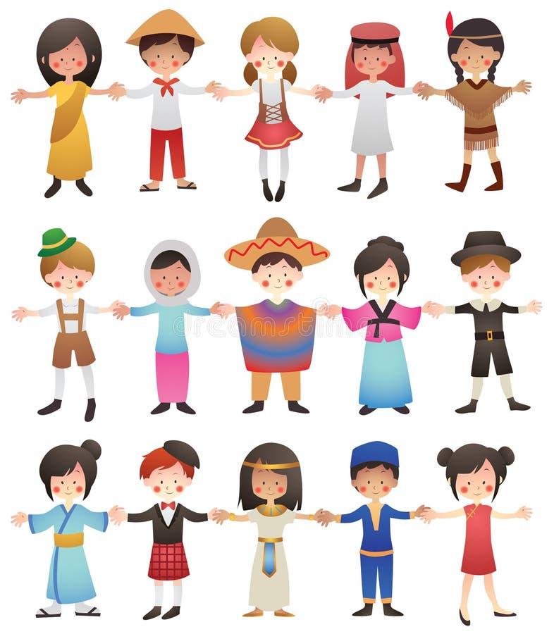 Barn av olika länder vektor illustrationer