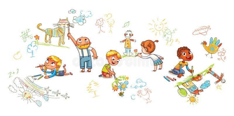 Barn av olika nationalitetattraktionbilder på väggar och golv stock illustrationer