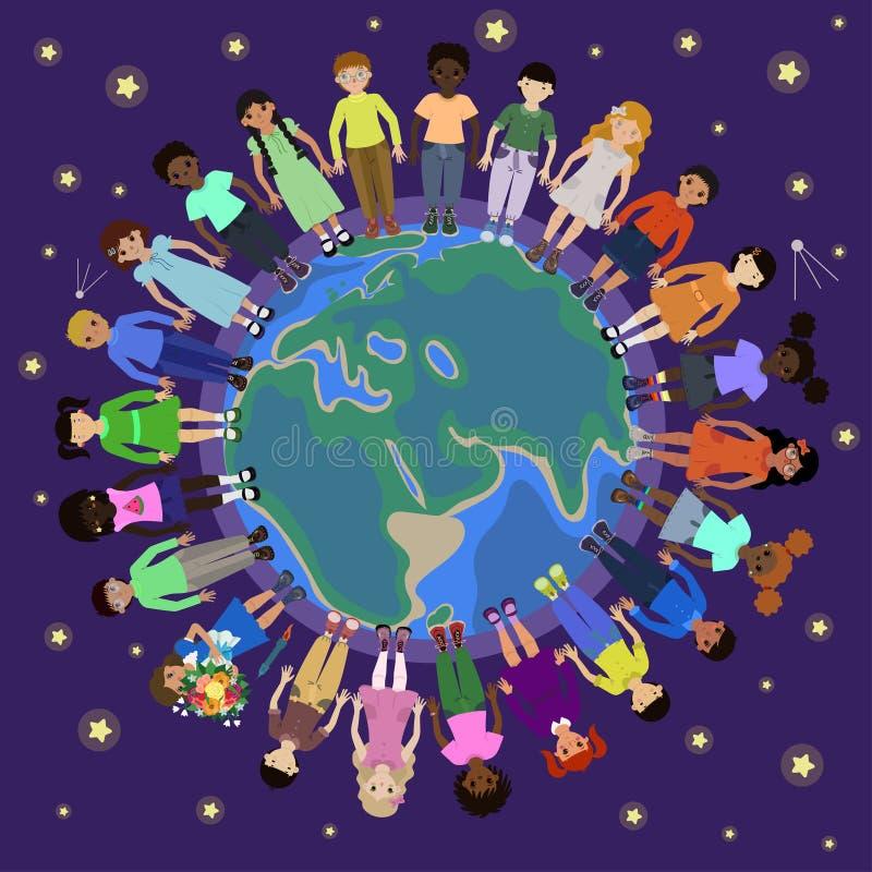 Barn av olika nationaliteter rundar jordklotet royaltyfri illustrationer
