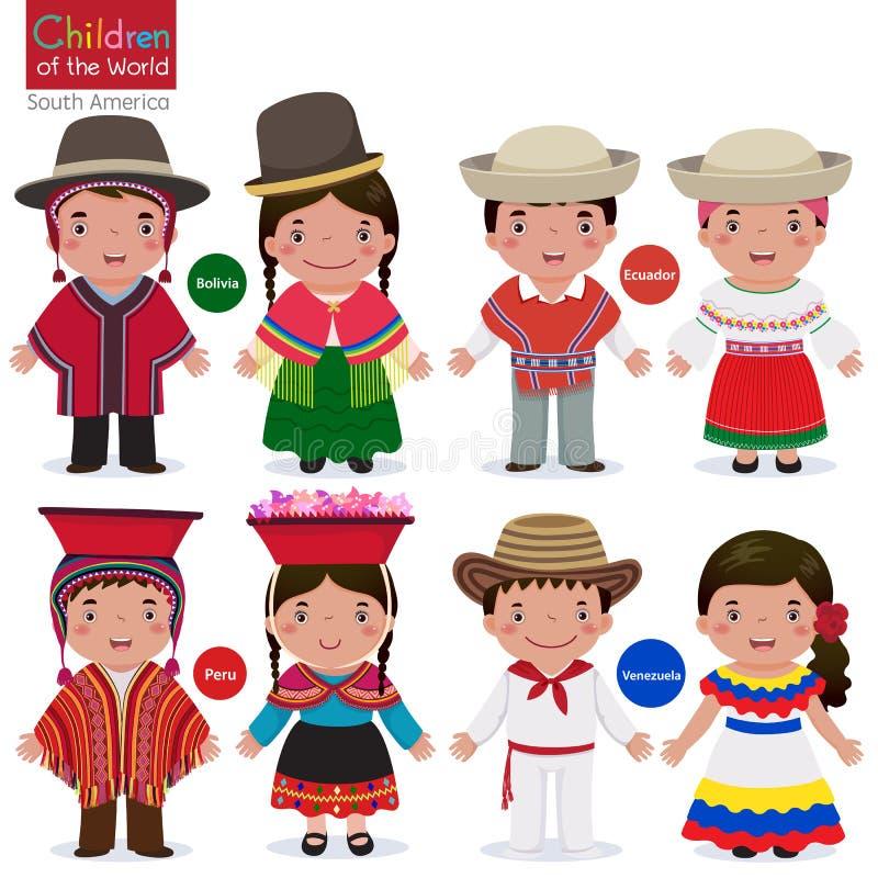 Barn av värld-Bolivia-Ecuador-Peru-Venezuela stock illustrationer