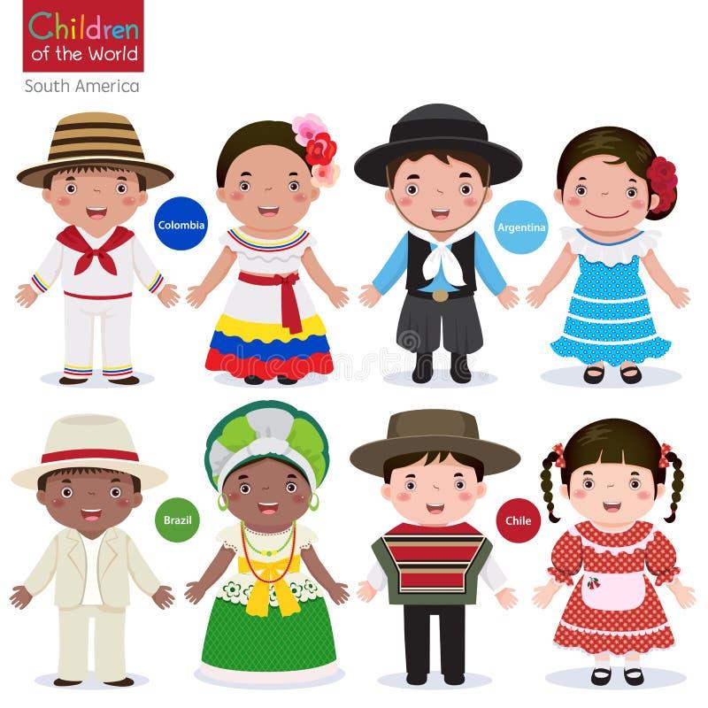 Barn av värld-Colombia-Argentina-Brasilien-Chile vektor illustrationer