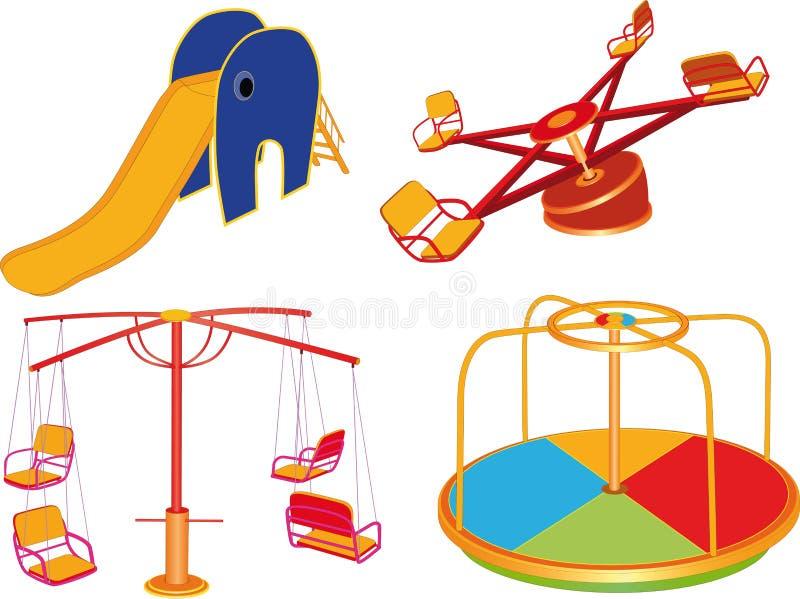 barn avslutar set swing för s stock illustrationer