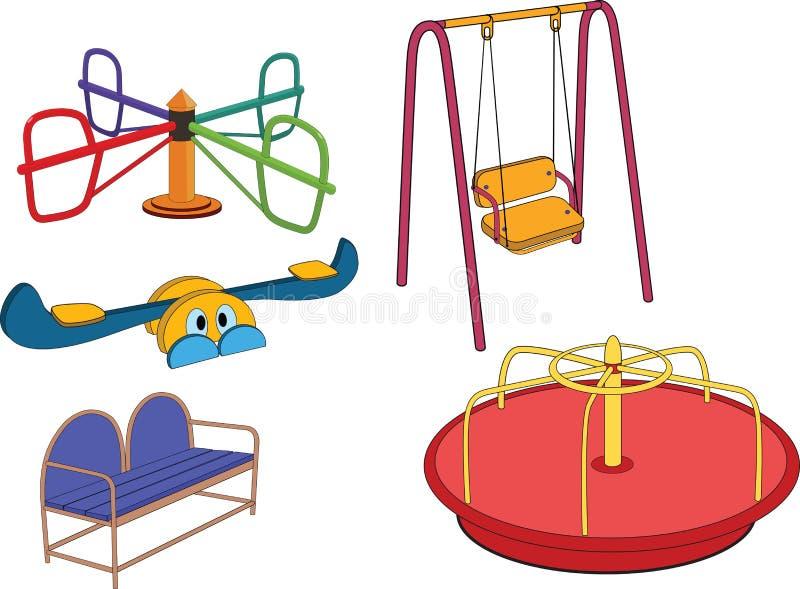 barn avslutar set swing för s royaltyfri illustrationer
