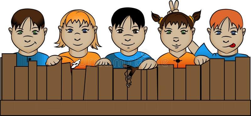 Barn bak staketet royaltyfri illustrationer