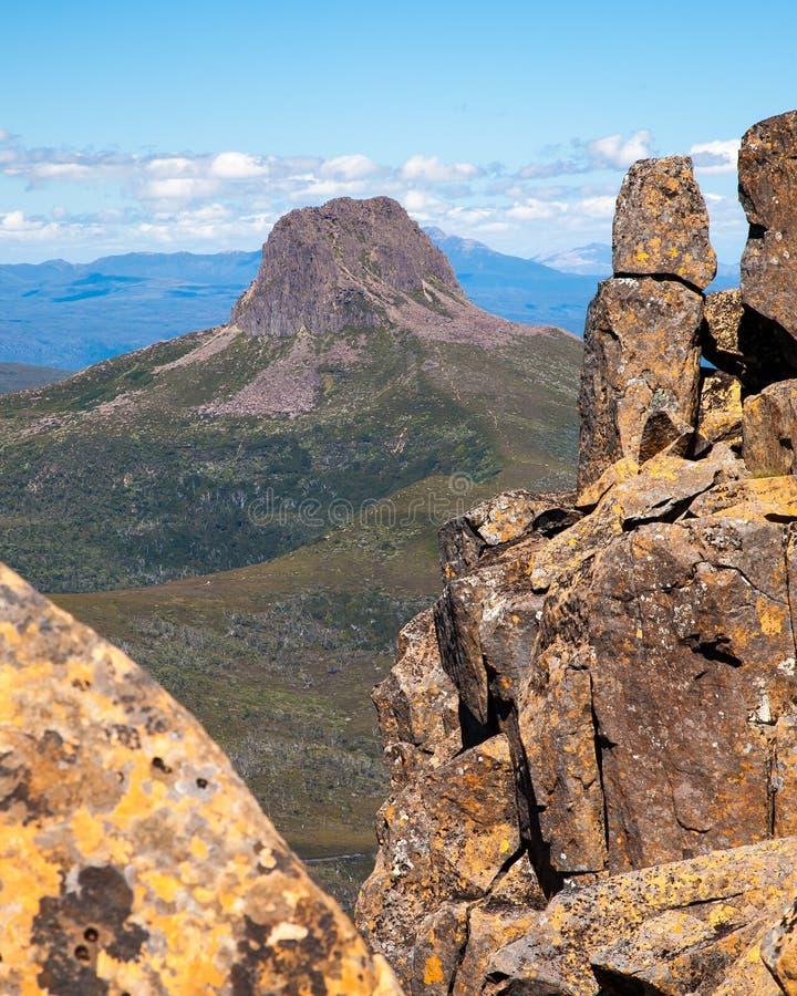 Barn Bluff. As seen from the summit of Cradle Mountain Tasmania Australia stock photo