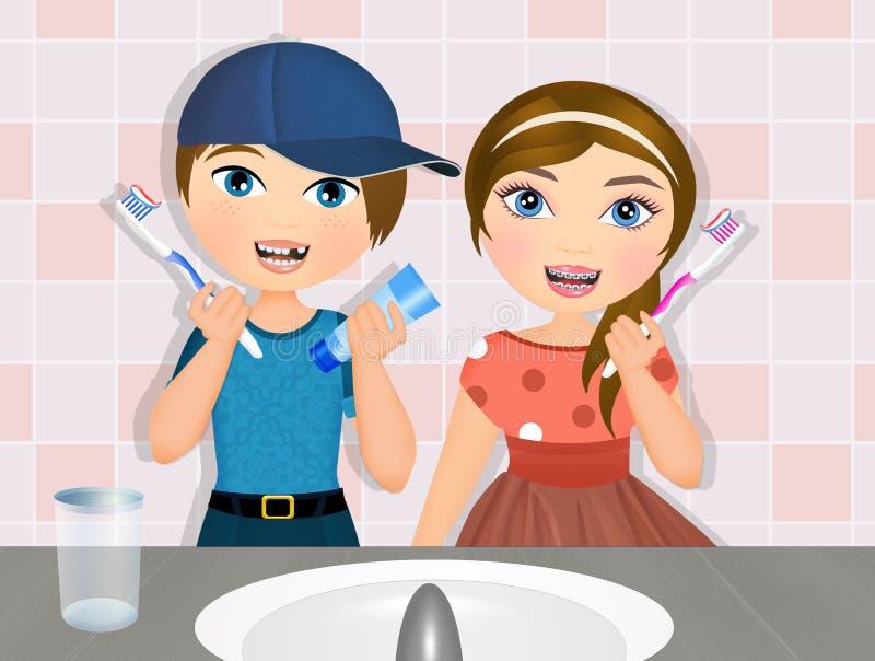 Barn borstar deras tänder royaltyfri illustrationer
