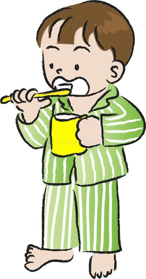 Barn borstar deras tänder vektor illustrationer