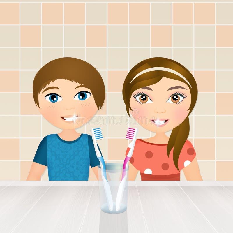 Barn borstar deras tänder stock illustrationer