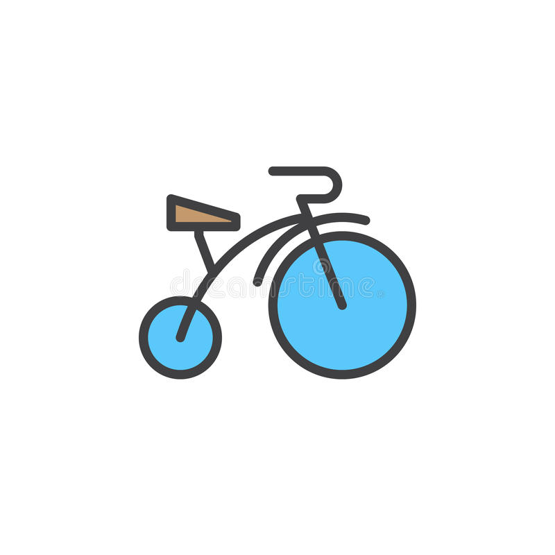 Barn cyklar den fyllda översiktssymbolen, linjen vektortecknet, linjär färgrik pictogram vektor illustrationer