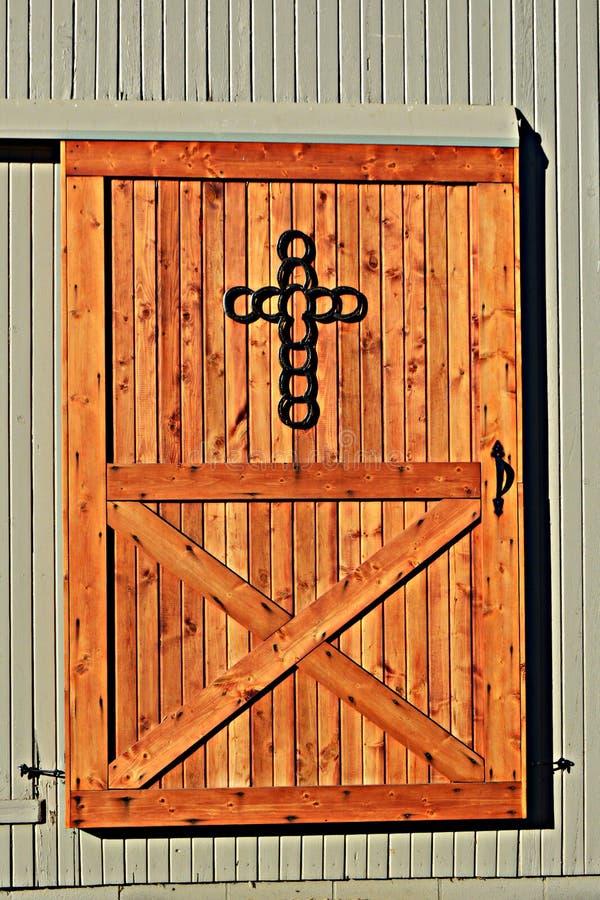 Barn Door With Horseshoe Cross Stock Photo Image 61188414