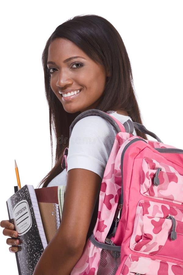 barn för afrikansk amerikanhögskolestudentkvinna arkivbilder