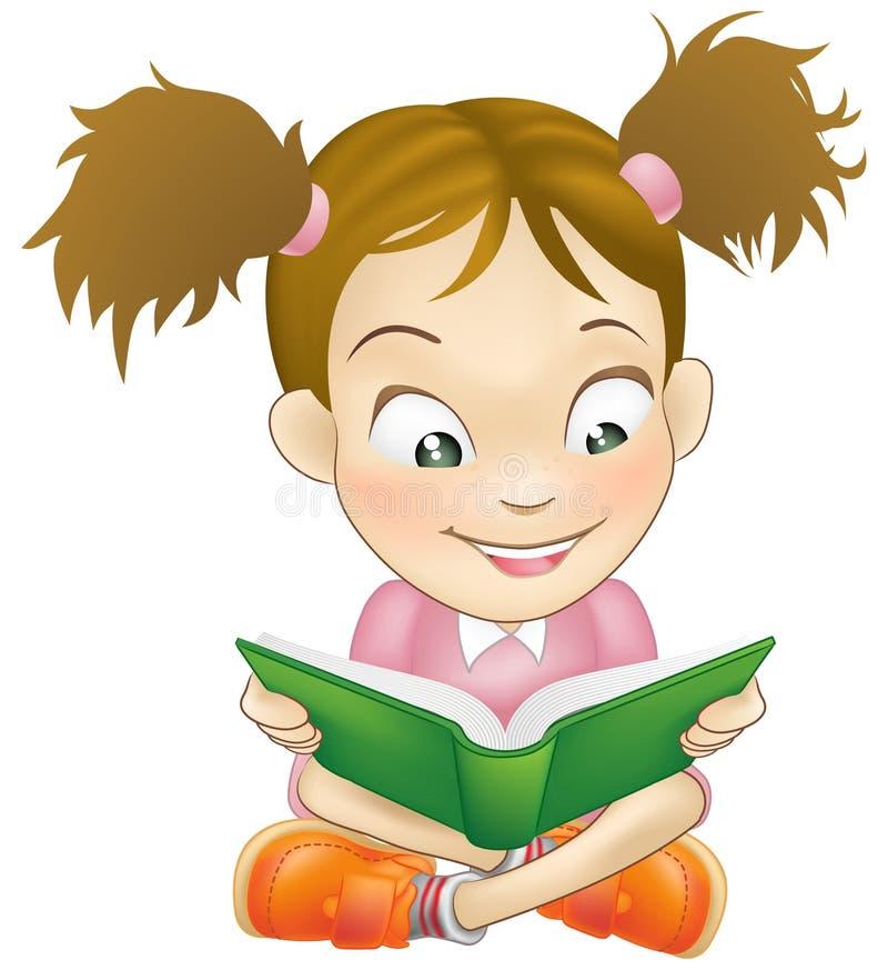 barn för avläsning för bokflickaillustration vektor illustrationer