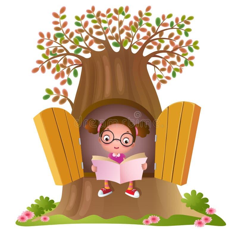 barn för bokflickaavläsning royaltyfri illustrationer