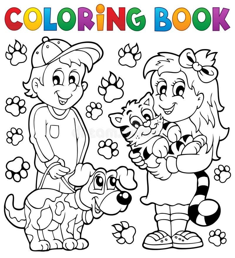 Barn för färgläggningbok med husdjur royaltyfri illustrationer