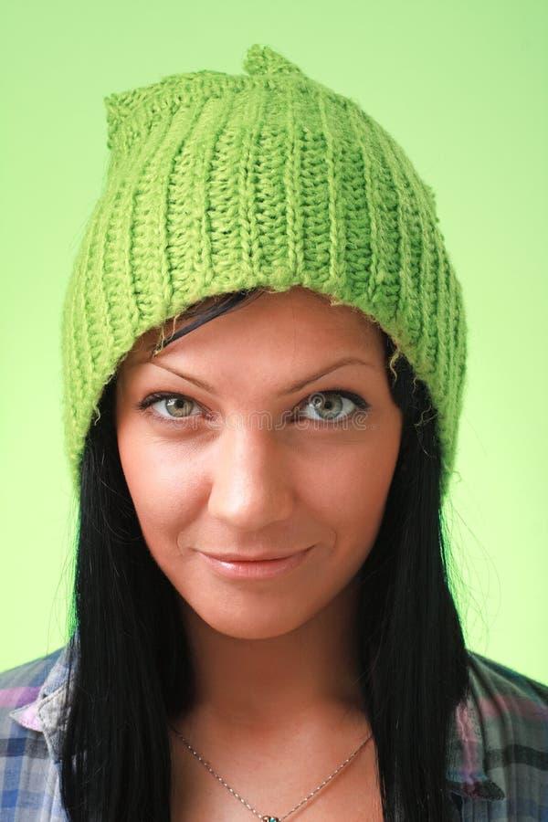 barn för grön lady för lock woollen arkivfoton