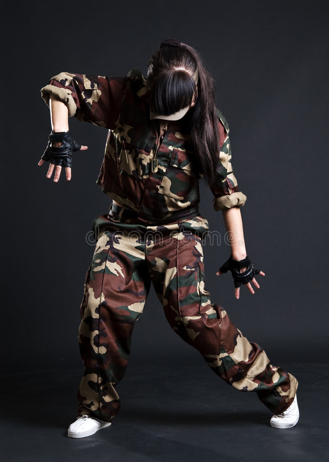 barn för kamouflagedanskvinna royaltyfri fotografi
