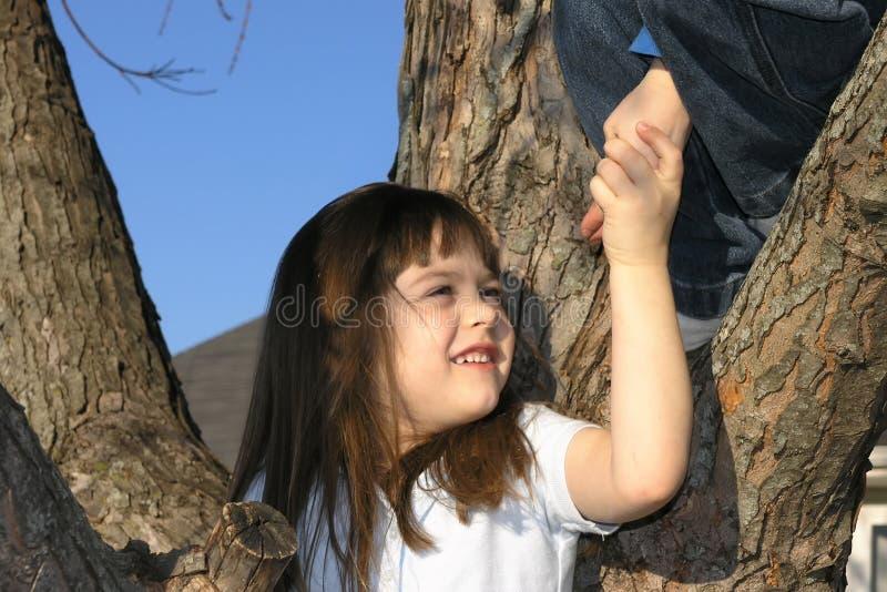 barn för klättringflickatree arkivfoto