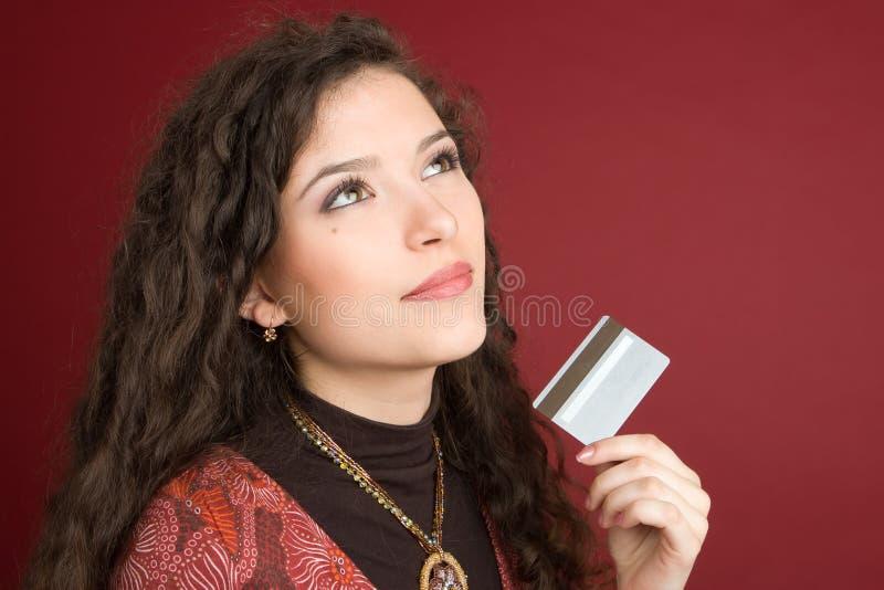 barn för kortkrediteringskvinna royaltyfria bilder
