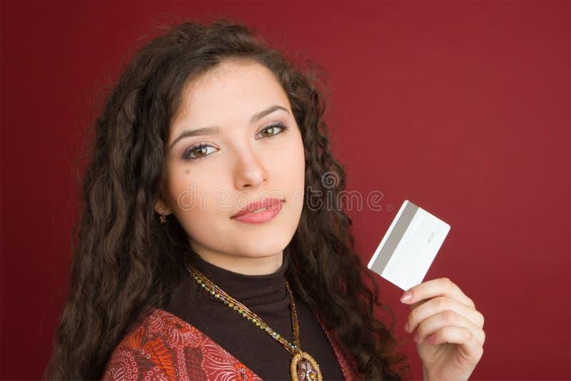 barn för kortkrediteringskvinna arkivfoto