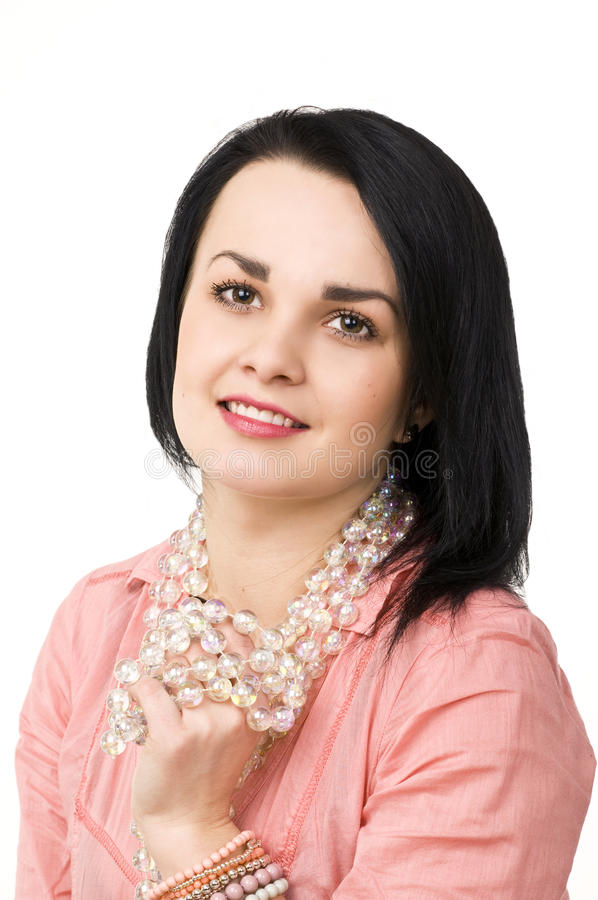 barn för kvinna för attraktiv för bakgrund härlig för brunett glass naturlig stående för halsband vitt royaltyfria bilder
