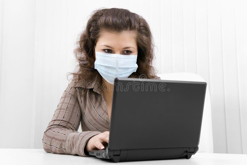 barn för kvinna för bärbar datormaskering medicinskt arkivfoto