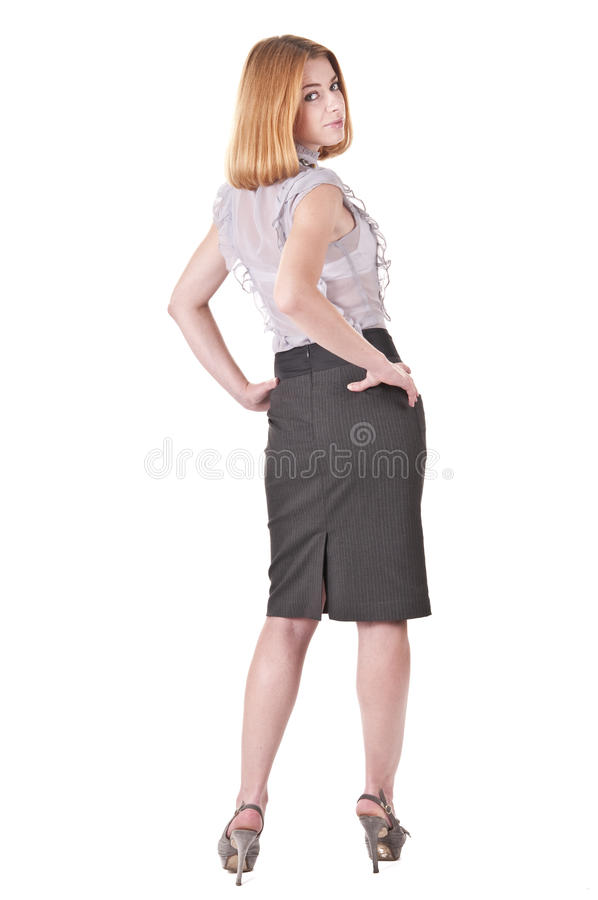 barn för kvinna för härlig blusskirt vitt royaltyfri fotografi