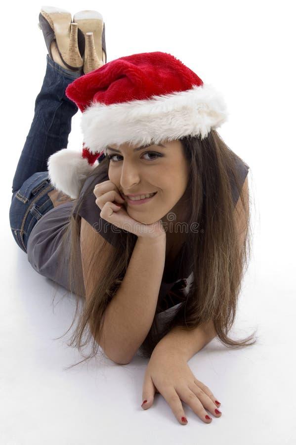 barn för kvinna för julhatt slitage royaltyfria foton