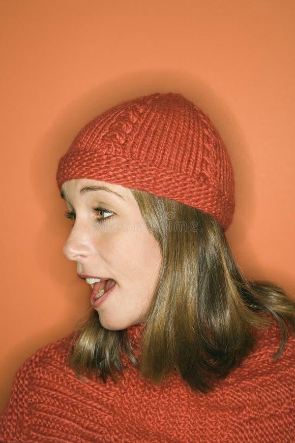 barn för kvinna för vinter för caucasian hattscarf slitage royaltyfri foto