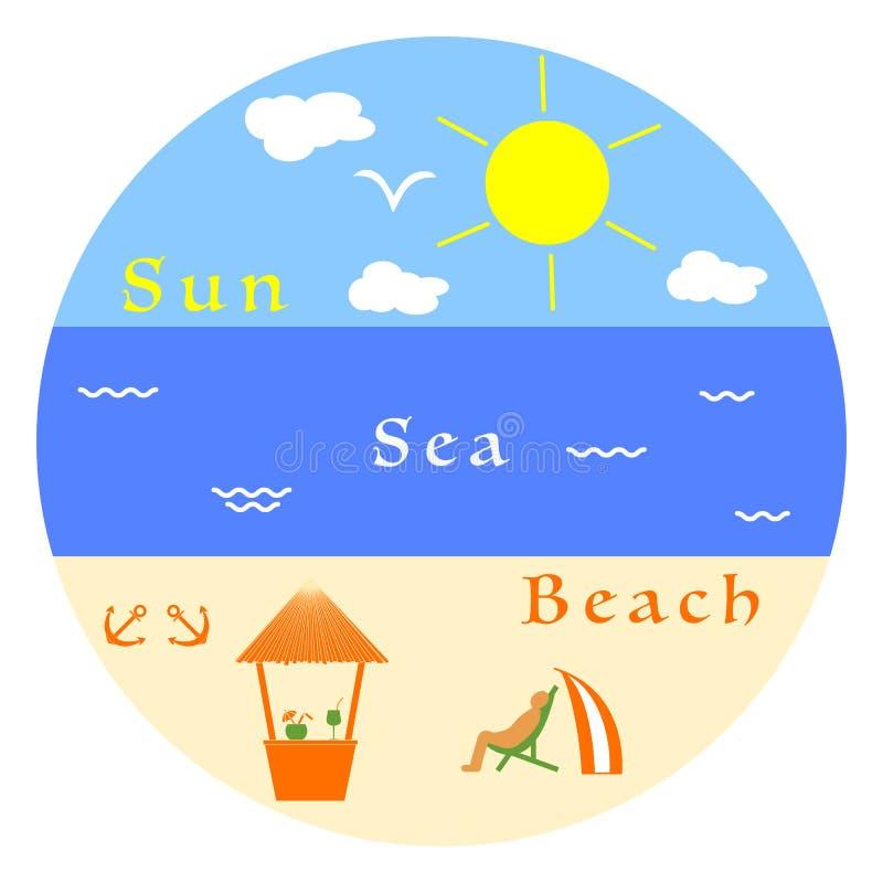 barn för kvinna för fritidbergsommar Koppla av på stranden vektor illustrationer