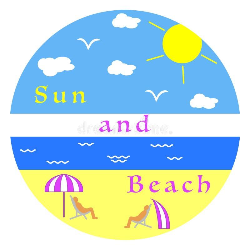 barn för kvinna för fritidbergsommar Koppla av på stranden stock illustrationer