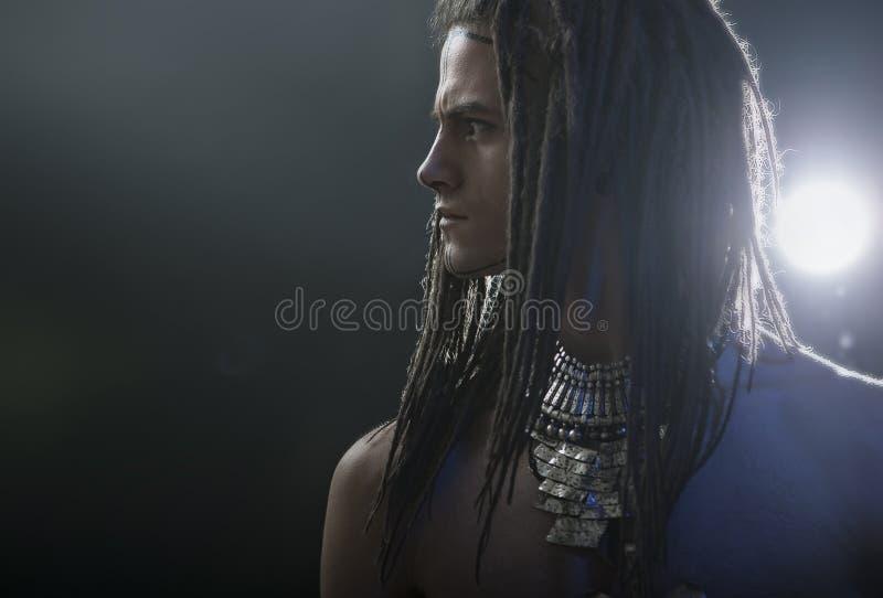 barn för manstående s Stilfull stilig sexig grabb med Dreadlocks royaltyfri bild
