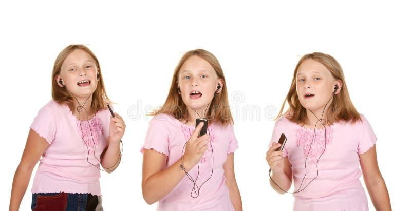 barn för mp3 för dansflickabilder arkivbilder