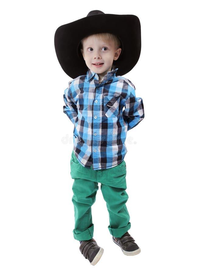 barn för pojkecowboyhatt arkivbild
