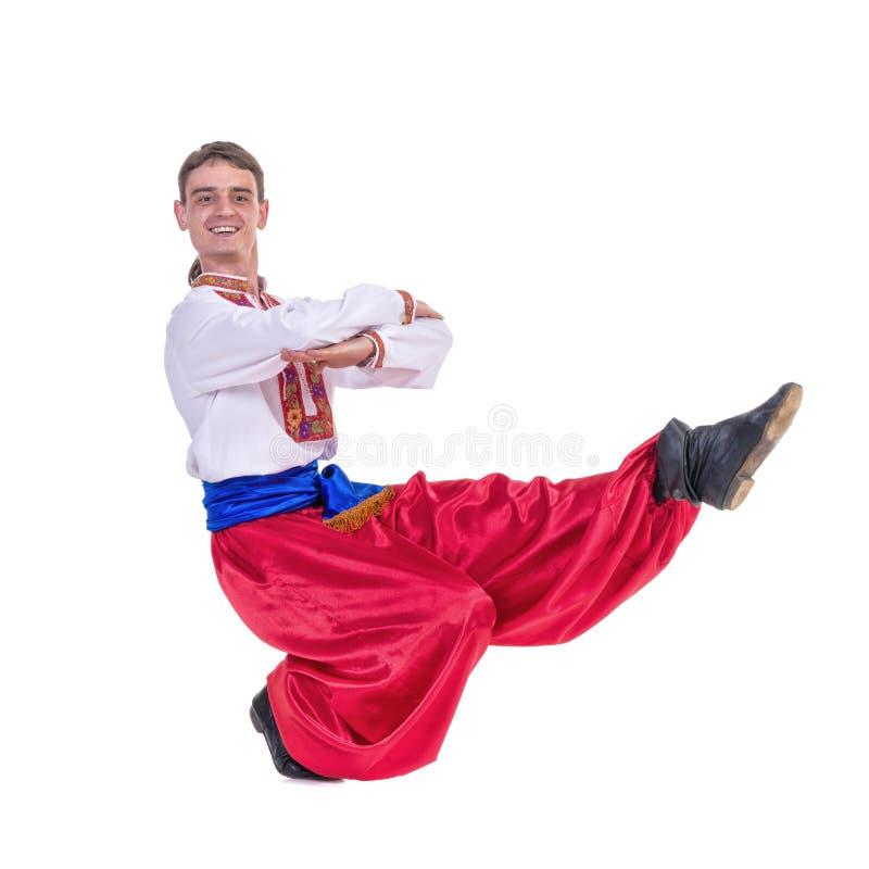 barn för ryss för dansare för klädercossackdans etniskt Ung dansaredans fotografering för bildbyråer