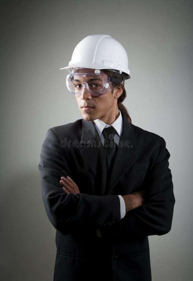 barn för säkerhet för blandad race för man för hård hatt för goggle arkivfoton