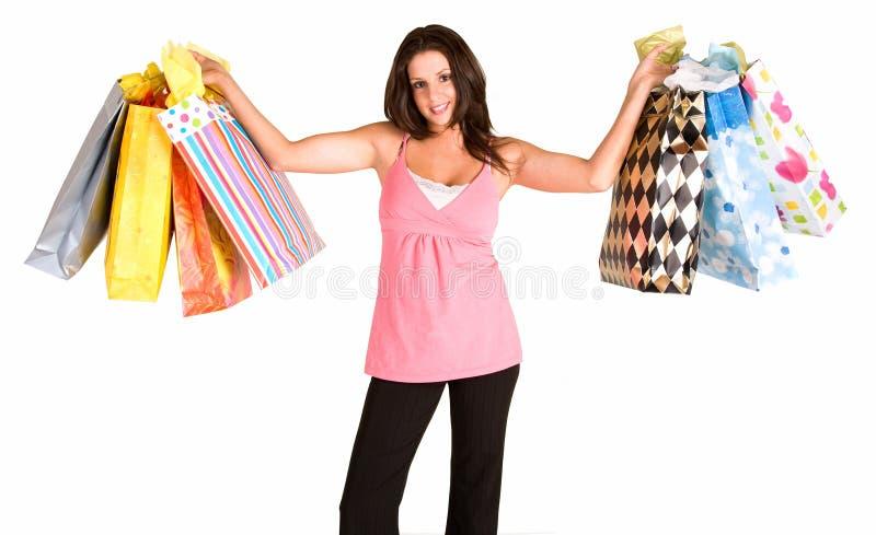 barn för shoppingfestkvinna royaltyfri foto